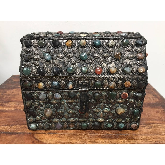 Fabric Large Moroccan Wedding Silvered Jewelry Box Inlaid With Semi-Precious Stones For Sale - Image 7 of 13
