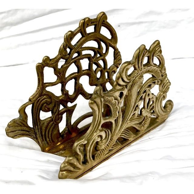 Mid Century Hollywood Regency Brass Letter Holder - Image 2 of 4