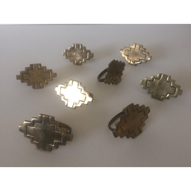 Vintage Brass Modernist Geometric Napkin Rings - Set of 8 - Image 2 of 7