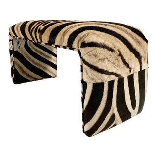 Vintage Waterfall Bench Restored in Zebra Hide For Sale
