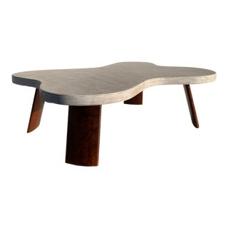 "Scandinavian ""Cloud"" Cork and Walnut Coffee Table"