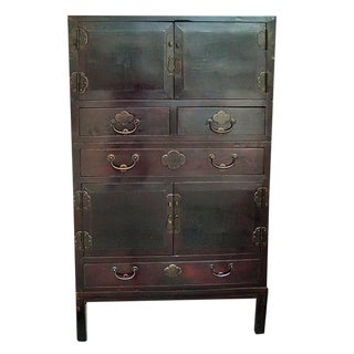 Two-Piece Chinese Cabinet For Sale