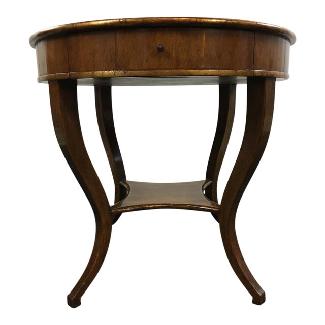 Vintage Carved & Veneered Walnut Single Drawer Round Top End Table For Sale