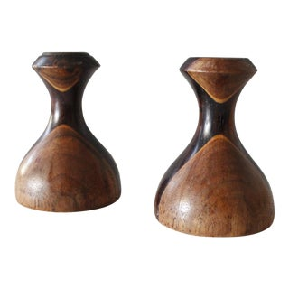 2 Danish Modern Walnut & Rosewood Candlesticks Modernist Turned Wood Candle Holders For Sale