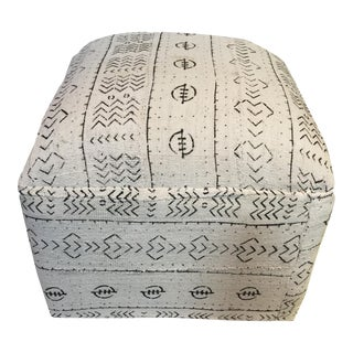 African LG Square Malian Mud Cloth Ottoman For Sale