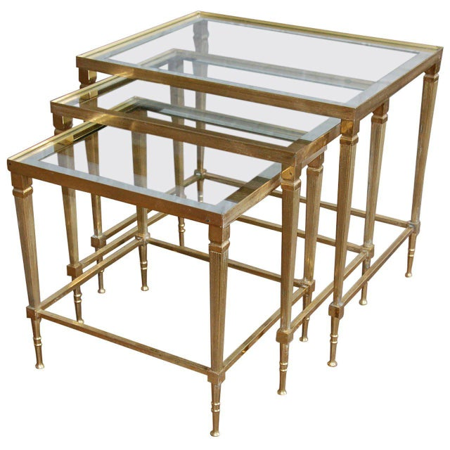 Circa 1950, Italian, Mid-Century Modern, Brass & Mirrored Glass, Nesting Tables - Set Of For Sale - Image 10 of 10