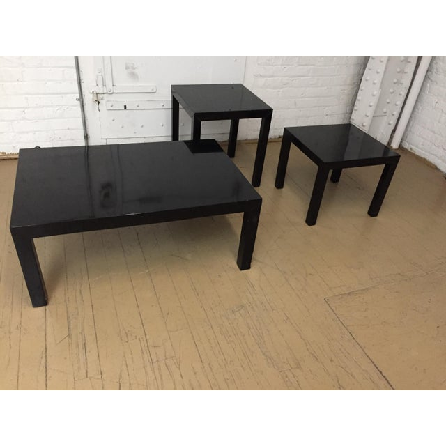 Vintage 1970's Black Lacquer Occasional Tables - Set of 3 For Sale - Image 10 of 12
