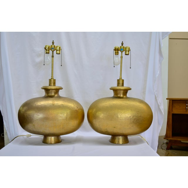 Gold Mid Century Modern Copper Repousse Lamps - a Pair For Sale - Image 8 of 8