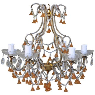 Six-Light Amber Colored Murano Glass Chandelier For Sale