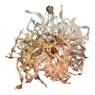 Monumental Modernist Gold Murano Ribbon Chandelier For Sale