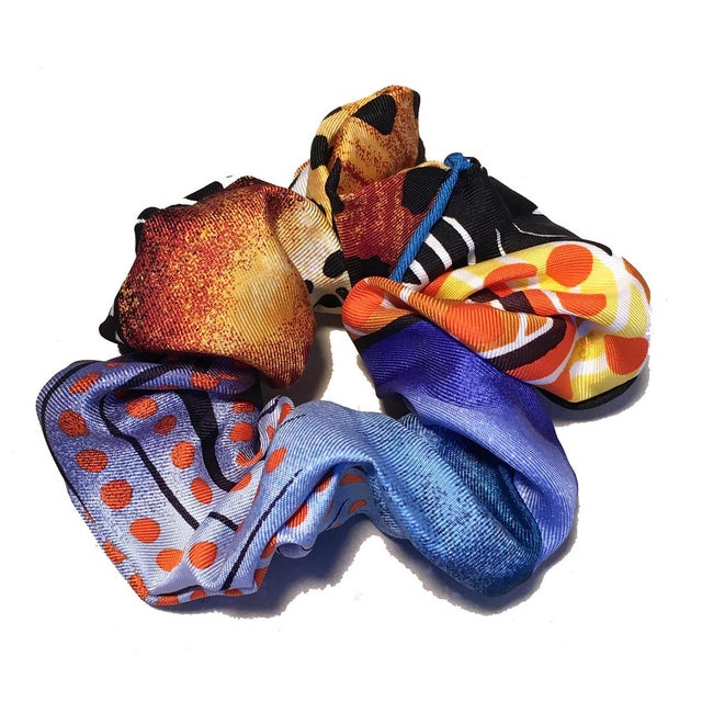 Illustration Hermes Handmade Baobab Cat Silk Scarf Scrunchie in Bright Blues and Oranges For Sale - Image 3 of 13