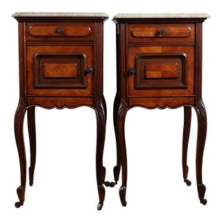 French Victorian Nightstands on Castors Rose Veneer Carved Wood Marble Top - a Pair For Sale