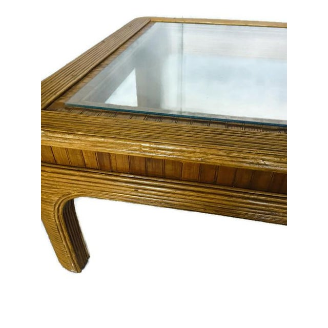Vintage Split Reed Bamboo Coffee Table - Image 2 of 8