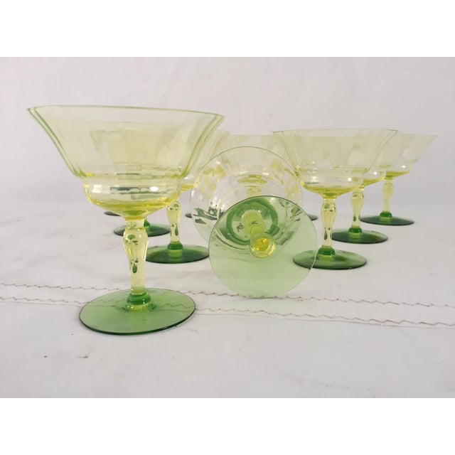 Green Vaseline Champagne Glasses - Set of 11 For Sale - Image 5 of 6