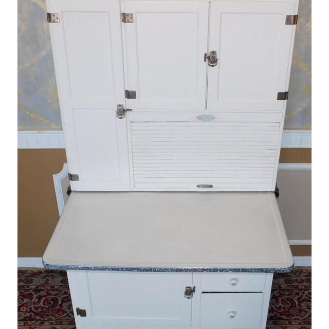 Enamel Antique Sellers Restored Painted White Hoosier Kitchen Cabinet C1890 For Sale - Image 7 of 13