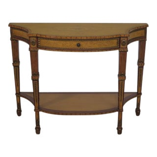 Drexel Adam Style Paint Decorated 1 Drawer Console Hall Table For Sale