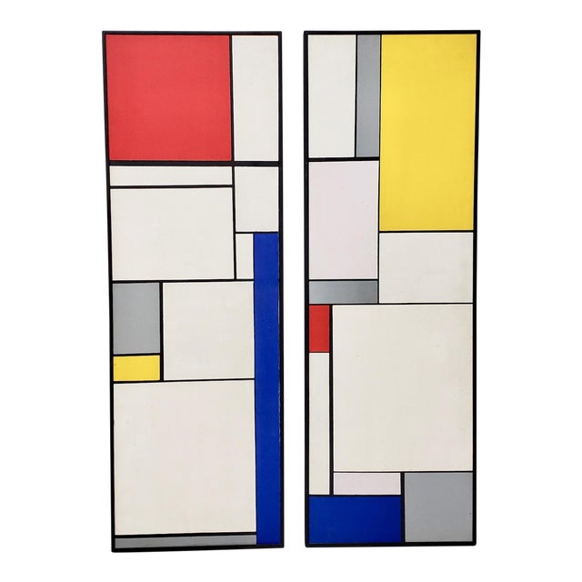 Mid-Century Geometric Abstract Paintings C.1950s - a Pair For Sale