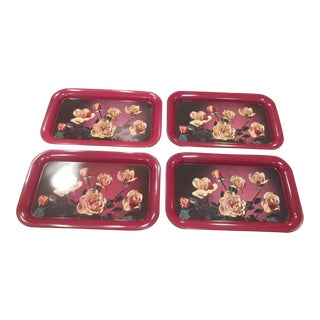 Mid-Century Floral Tin Snack Trays - Set of 4 For Sale