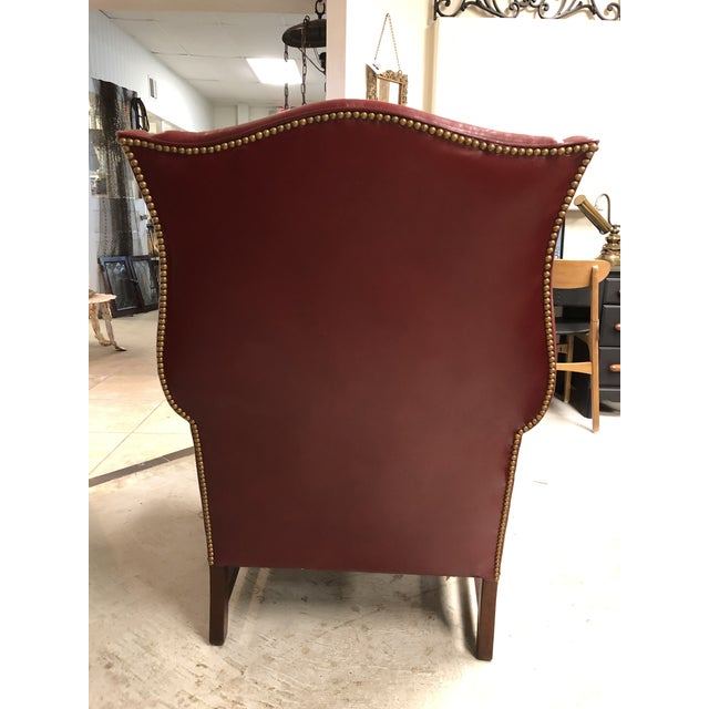 Hancock & Moore Late 20th Century Oxblood Leather Wingback Chair For Sale - Image 4 of 7