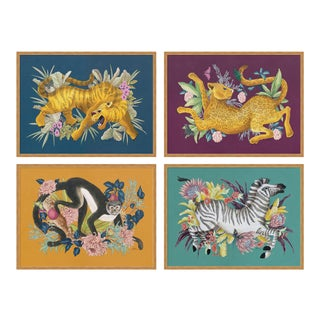 Fauna Set of 4 by Allison Cosmos in Gold Frame, Large Art Print For Sale
