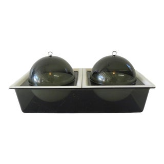 Mid Century Vintage 2 Section Double Dome Acrylic Serving Dish For Sale