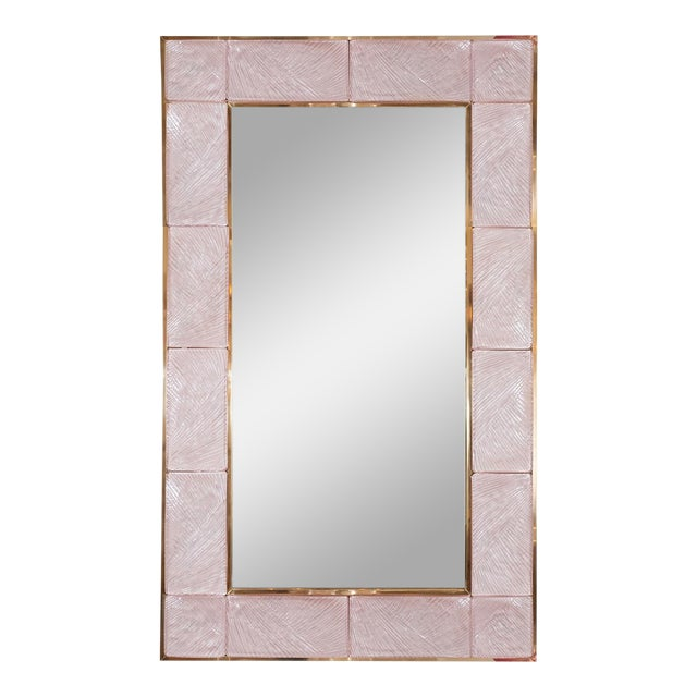 Pink Textured Glass Surround Mirror from Italy For Sale