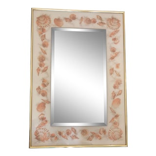 1960s Carolina Mirror Company Beveled Mirror Pink Shell Brass Border Mid Century Hollywood Regency Reverse Painted Glass Mirror With Brass Edging For Sale
