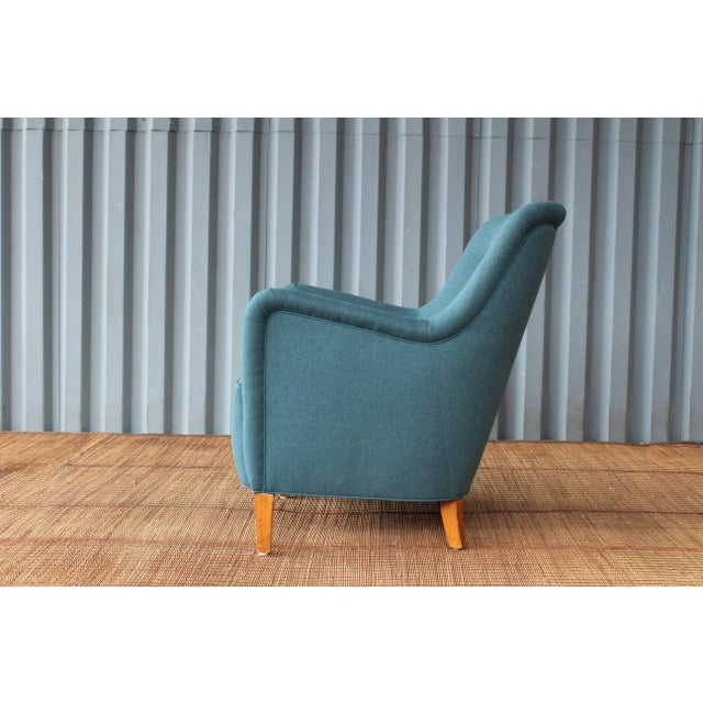 Textile Dark Teal Armchair by Ernest Race, England, 1940s For Sale - Image 7 of 12