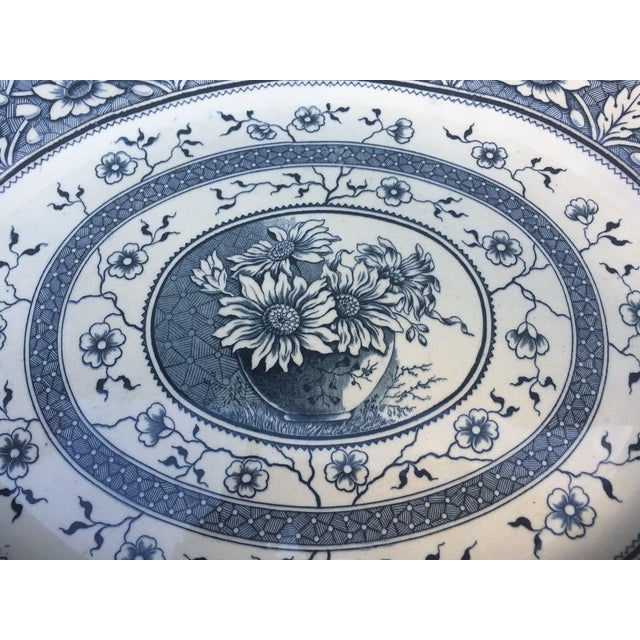 """What a gorgeous piece of early blue aesthetic transferware! The piece is marked indicating the pattern name """"Palmyra"""". The..."""