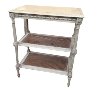Vintage French Painted Table With Caned Shelves For Sale