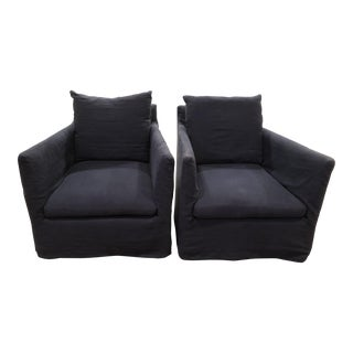 Navy Blue Slipcovered Club Chairs - A Pair