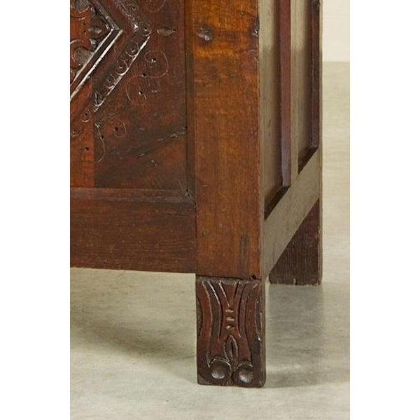 Antique English Oak Trunk Coffer circa 1850 For Sale - Image 4 of 7
