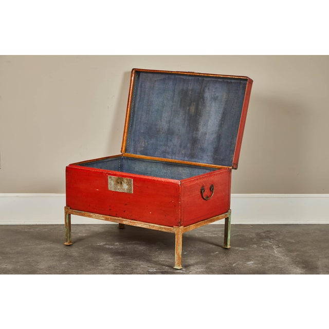 Late 19th Century Red Lacquer Pig-Skin Leather Camphor Trunk on Stand For Sale - Image 5 of 9