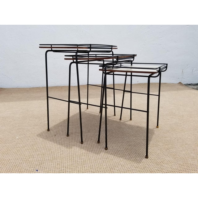Contemporary Mathieu Mategot Style Nesting Tables - Set of 3 For Sale - Image 3 of 12