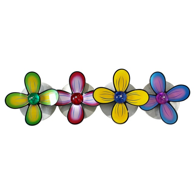 For your consideration is an absolutely beautiful, floral wall sculpture, made of polished metal and colored lucite,...