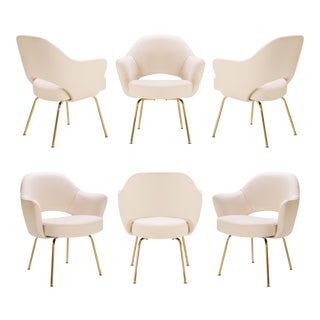 Original Saarinen Executive Arm Chairs Bone Luxe Suede, Custom 24k Gold Edition - Set of 6 For Sale