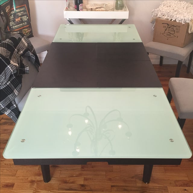 Mixed Media Glass and Wood Covertible Dining Table - Image 5 of 7