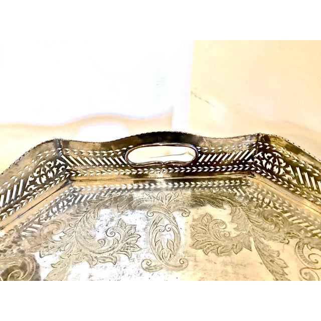 Sheffield Silver Plate Large Gallery Tray For Sale In Los Angeles - Image 6 of 8