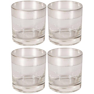 Midcentury Low Ball Glass With Sterling Silver Overlay by Dorothy Thorpe - Set of 4 For Sale