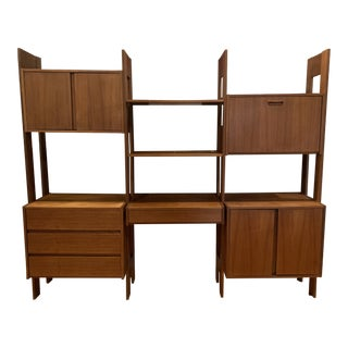 1960s Mid-Century Modern Teak Wall Unit or Bookshelf For Sale
