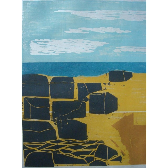 """Shore with Stones"" Woodblock by William Wolff - Image 2 of 3"