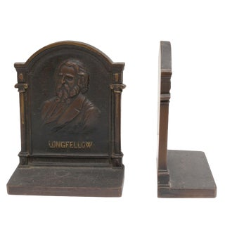 Cast Iron Longfellow Bookends - a Pair For Sale