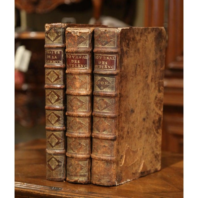17th Century 17th Century French Leather Bound Decorative Books Dated 1692-1700 - Set of 3 For Sale - Image 5 of 11