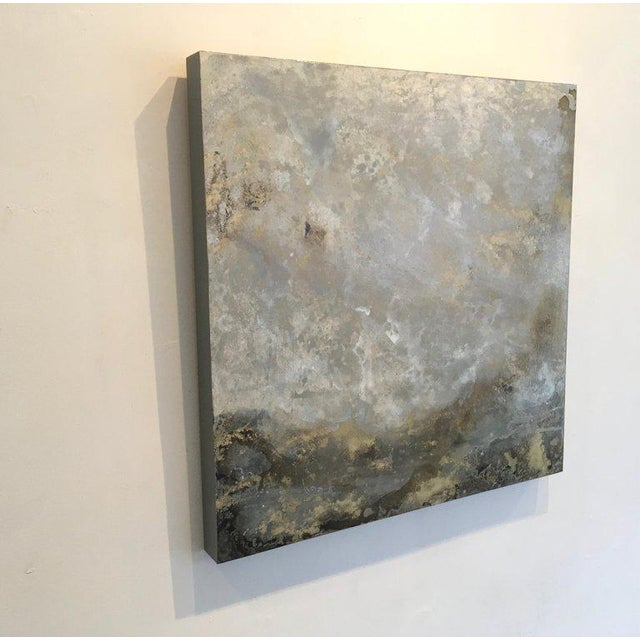 Michelle Gagliano, Mackeral Sky 2, Oil and Oil Glazes on Wood Panel, 24 x 24. It is filled with silver and gold and earth...