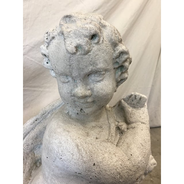 Pair of Italian Cast Concrete Garden Statuary Putti & Flowers Cherubs For Sale - Image 4 of 13