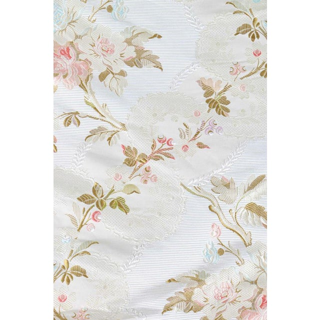 Roll of 7 Yards Heavy Floral Embroidered Silk Brocade Satin Upholstery Fabric - Image 5 of 9