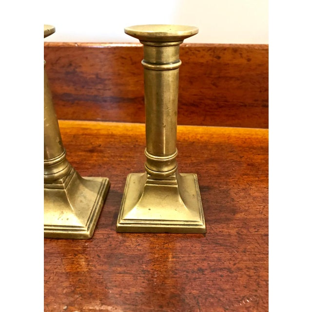 Set of 4 English Brass Neoclassical Candlesticks For Sale - Image 4 of 7