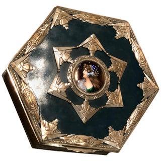 European Art Nouveau Art Deco Metal and Enamel Curiosity Box For Sale