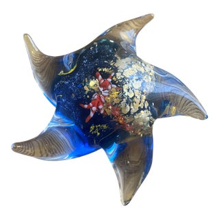 1970s Murano Blue Art Glass Starfish With Gold Flecks For Sale