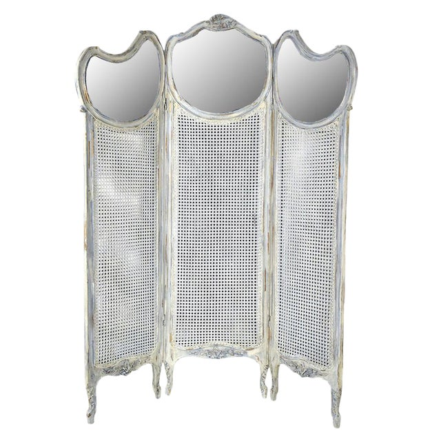 French Louis XV Style Three Panel Screen Divider - Image 1 of 7